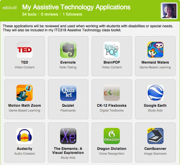 34 Assistive Technology Apps from edshelf & TeachThought