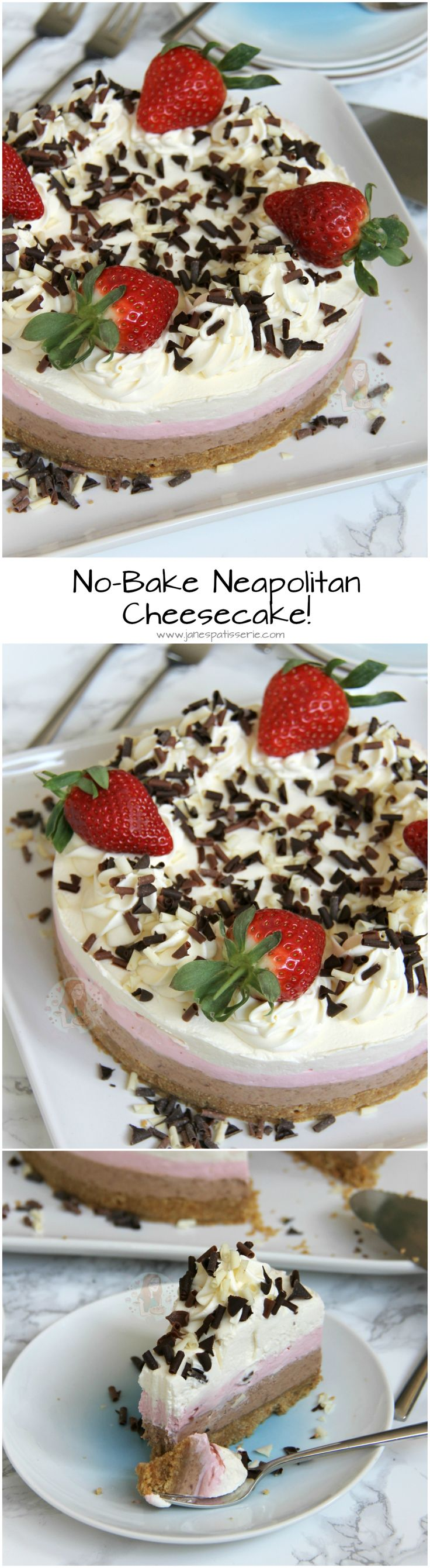 No Bake Neapolitan Cheesecake A Buttery Biscuit Base Chocolate Layer