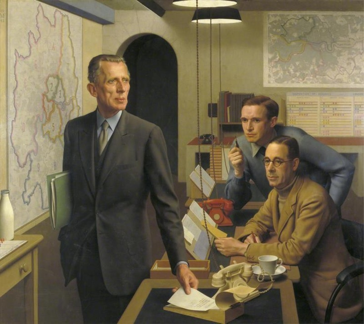 This painting of Sir Ernest Gowers, AJ Child and KAL Parker in the London Regional Civil Defence Control Room was painted by Meredith Frampton in 1943 and is in the Imperial War Museum. Frampton was an R.A. and served in The Artists Rifles during WWI.