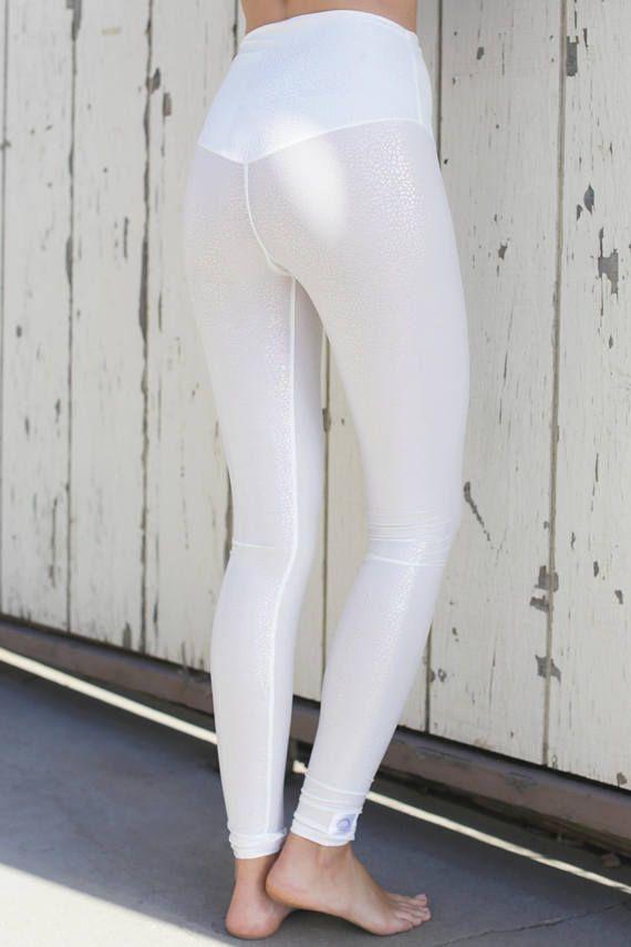 f1639545affba high waist leggings / white leggings / hologram leggings / nylon leggings / womens  yoga pants / Yoga leggings women / hot yoga pants in 2019 | Products ...