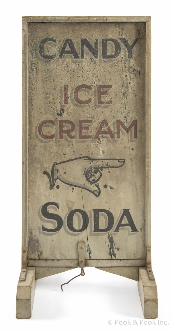 Trade Sign | Candy Ice Cream Soda Painted Wood Panel Sidewalk 44