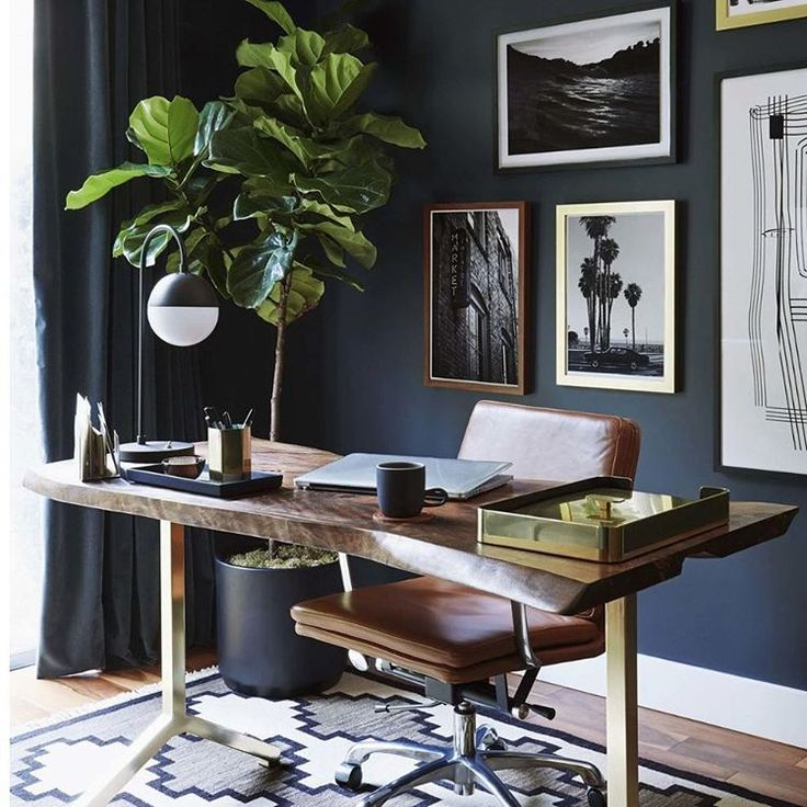 This Navy Office From Who Is The Lead Designer For Makes Us Want To Immediately Upgrade Our Chair Game Nash Leather Swivel Looks So Chic In