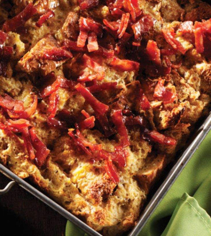 Breakfast Bread Pudding with Turkey Bacon Crumble image