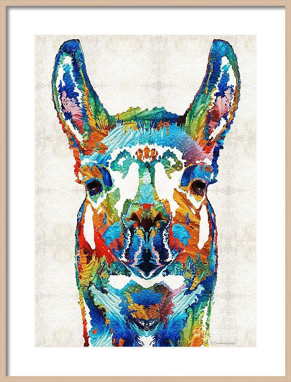 Llama Framed Print featuring the painting Colorful Llama Art - The Prince - By Sharon Cummings by Sharon Cummings