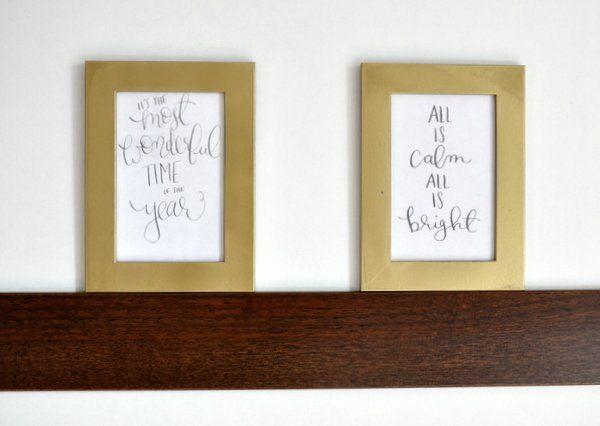 Arany képkeretek egyszerűen - Masni / Gold painted christmas picture frames