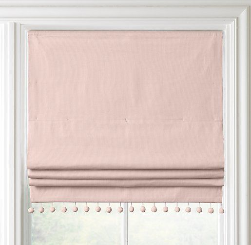Pom-Pom Linen-Cotton Roman Shade