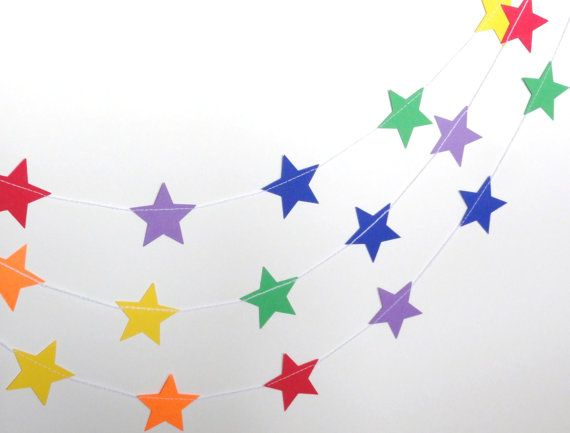 Rainbow Star Paper Garland Party Banner 9 feet Red by ShastaBlue, $7.00