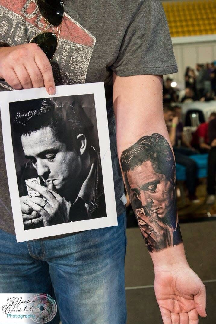 Johnny Cash tattoo portrait. Large black and grey forearm.