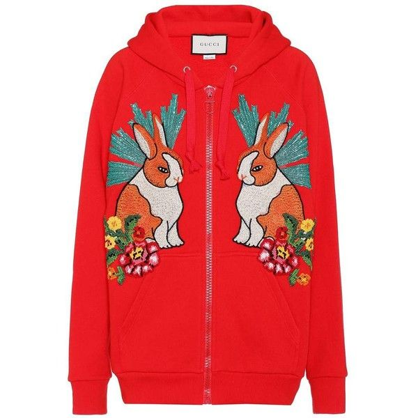 Embroidered cotton hoodie Gucci ($1,825) ❤ liked on Polyvore featuring tops, hoodies, red top, embroidered hoodie, embroidered hoodies, cotton hooded sweatshirt and hooded pullover