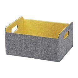 IKEA - BESTÅ, Boîte, jaune, , Vous permet d'organiser le rangement dans votre combinaison BESTÅ. Idéal pour des magazines ou des télécommandes, des DVD ou des jouets, ou encore des fournitures pour vos loisirs.Peut être déplacé et soulevé facilement grâce aux poignées découpées sur les côtés.Le feutrine protège vos objets et les maintient bien en place quand vous déplacez la boîte.