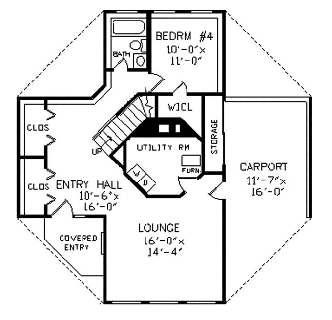 2 story octagon house plans unique octagonal home for Octagon house floor plans
