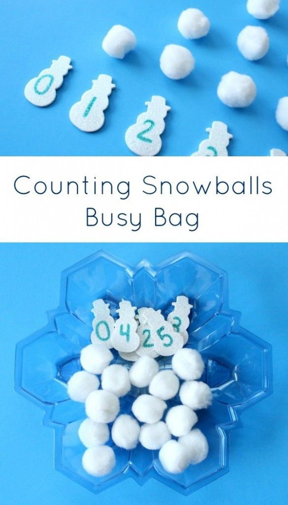 Counting Snowballs Busy Bag~Preschool and Kindergarten Winter Math Activity