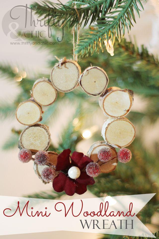 Mini Woodland Wreath Ornament made from birch discs