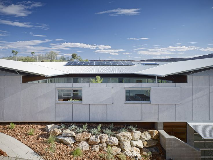 Designed by Architects, Dunn & Hillam - Desert House in Alice Springs, NT uses BareStone as the central cladding material. Creating a clean, raw look perfect for the environment.