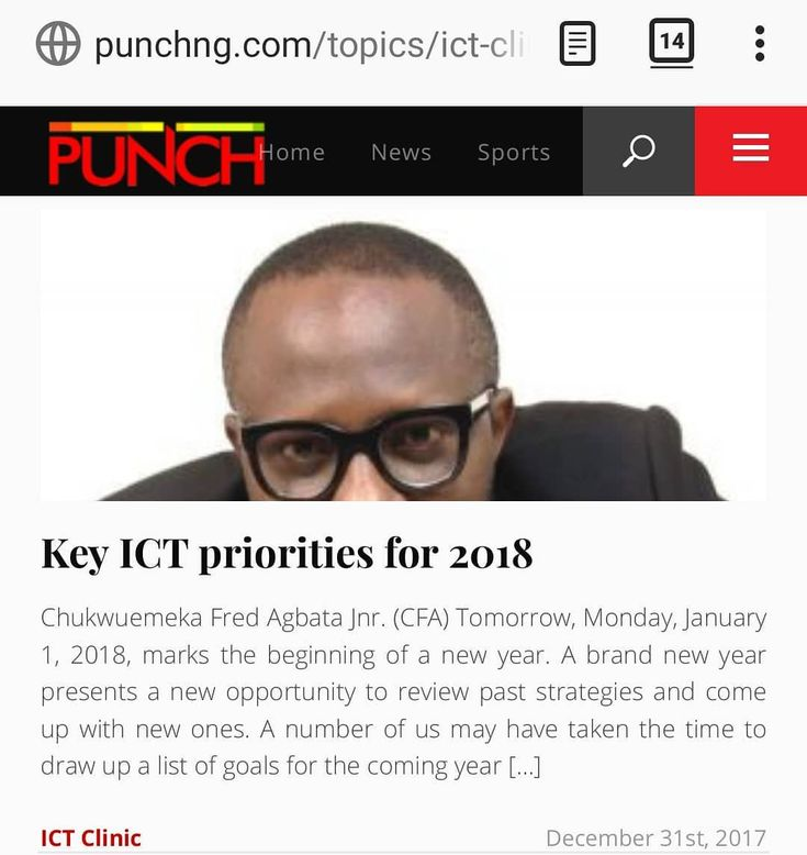 "CFA's last Punch Newspapers column for 2017 is titled ""Key ICT priorities for 2018"" - http://j.mp/2CqkxJq  I believe that in 2018 Government should get more serious with our National Broadband Plan implement policies around local content & provide more support for the startup ecosystem.  2018 marks the 5th year of ICT Clinic Punch Newspapers (Nigerias most widely read Newspaper). 5 years of educating communicating heart pouring ranting or call it whatever. My goal is to ensure that…"