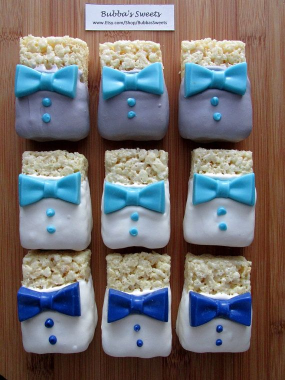 BOW TIE Rice Krispy Treats (12) - Little Man Birthday/Little Man Shower/First Birthday/Bow Tie Favors