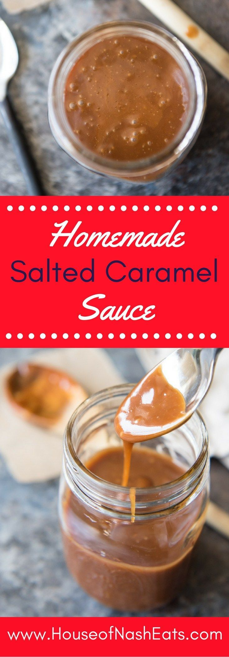 Just four ingredients, ten minutes, and no thermometer needed. This luscious but also ridiculously easy homemade salted caramel sauce is perfect for topping ice cream, pies, brownies, cookies, cheesecakes, and pretty much whatever else you can think of!