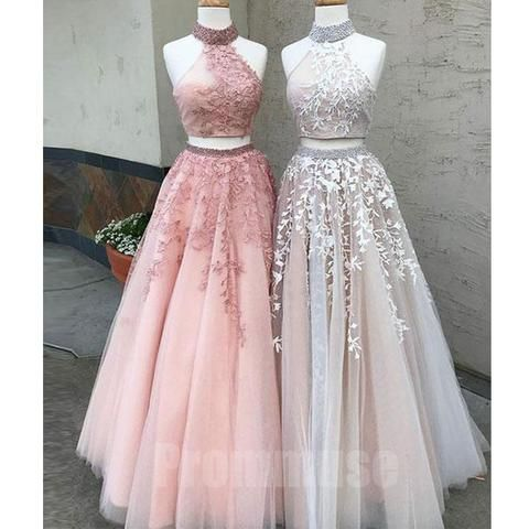 Two Pieces Halter Tulle Applique Evening Long Prom Dresses, PM1003 – Aussehen