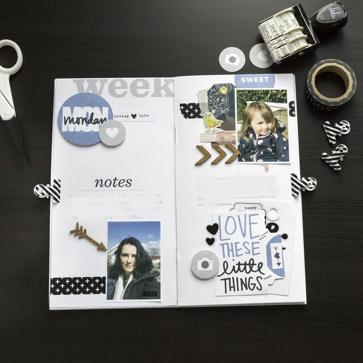 A look inside my traveler's notebook for my Monday -Week in the life 2017... ( hybrid scrapbooking)
