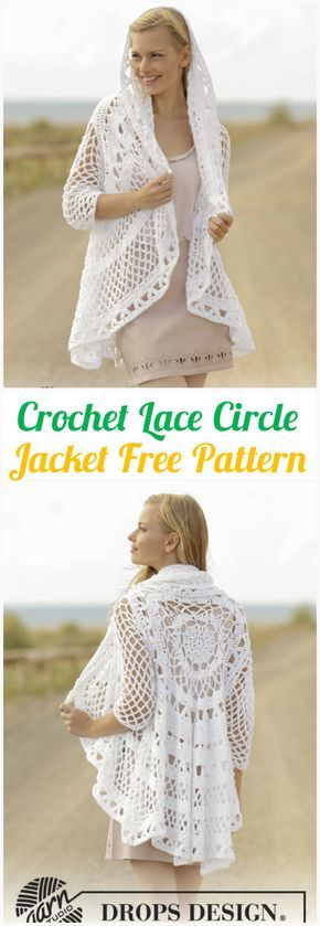 DIY Crochet Lace Circle Jacket Free Pattern-#Crochet Circular Vest Sweater #Jacket Patterns