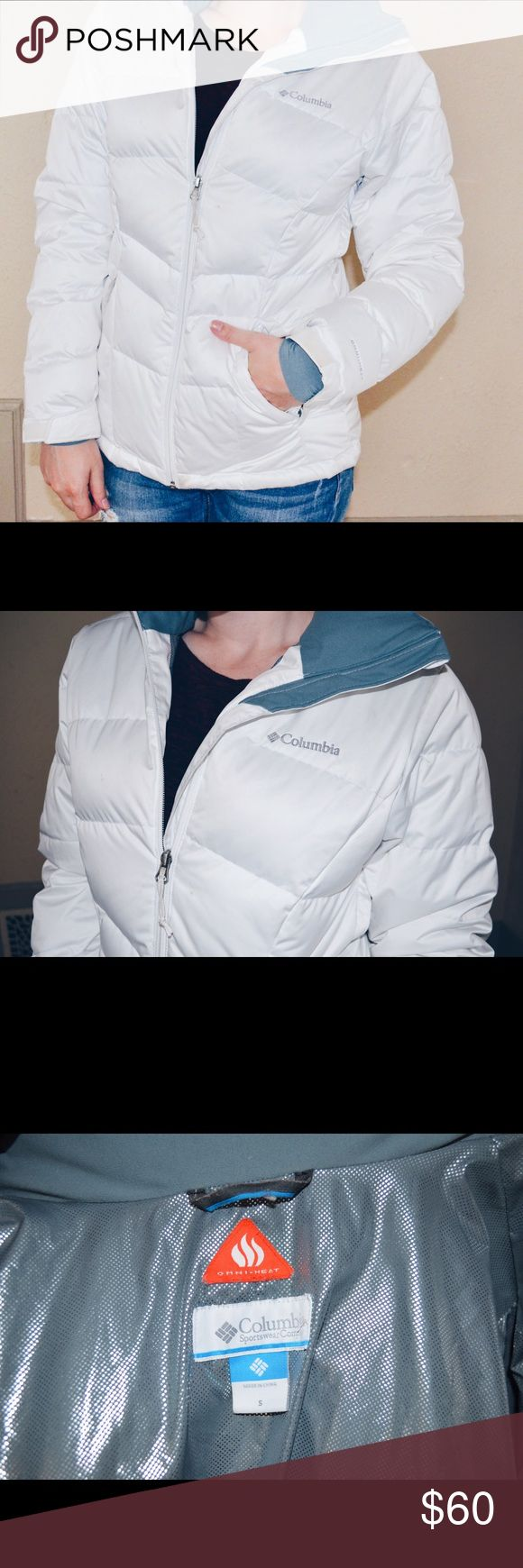 White Columbia Omni Heat Jacket Small This white jacket will keep you warm in the coldest of places. The reflective lining traps body heat to keep you toasty Columbia Jackets & Coats Puffers