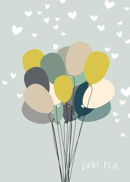 Kinderzimmerdekoration - Poster Kinderzimmer Luftballons DIN A4 - ein Designerstück von Heimwerk_Design bei DaWanda