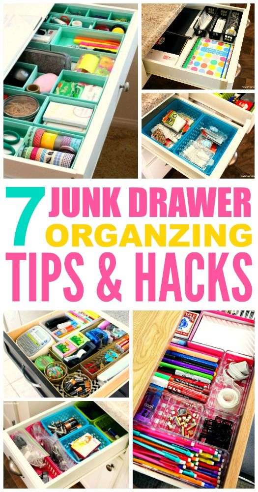 These 7 junk drawer organizing tips and hacks are THE BEST! I'm so glad I found these GFREAT tips! Now I have some ways to clean up the mess in my drawers! Definitely pinning for later!