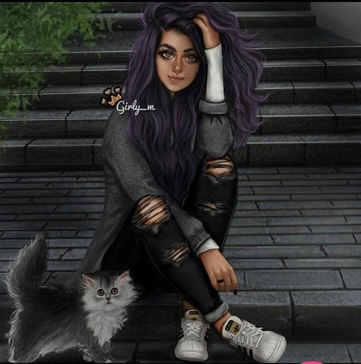 # kot # fioletowe włosy # superstary # tumblr