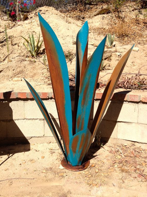 Massive Blue Rustic Tequila Agave Metal Garden Sculpture