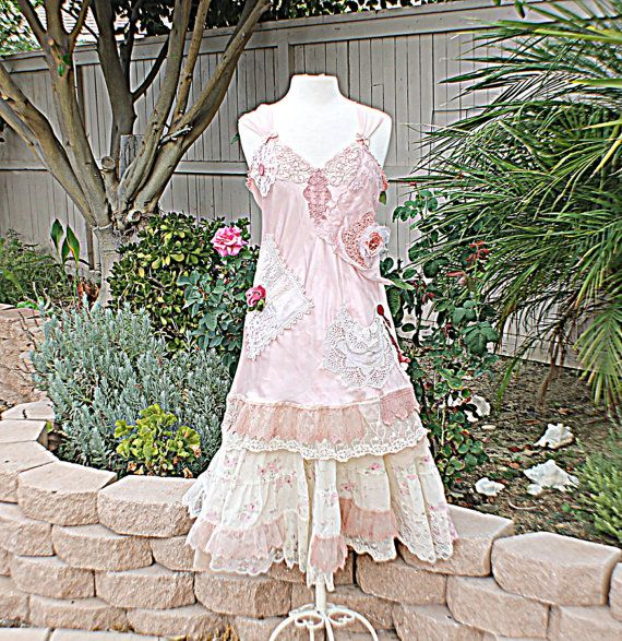 Slip Dress / Women's Shabby Chic Romantic Clothing / Gypsy Girl Clothes / Woodland Fairy /Rustic Alternative Wedding Dress