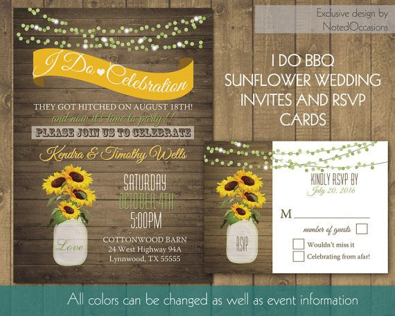 I Do BBQ Wedding Reception Invitation | Printable Wedding Invitations  Sunflowers Mason Jar Reception Only | Printable Digital Template