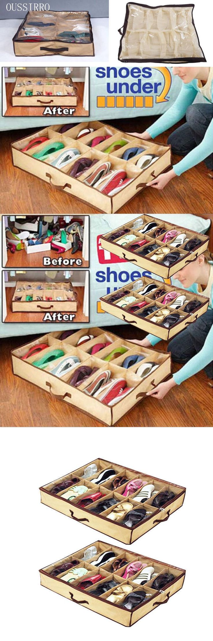 [Visit to Buy]  OUSSIRRO New 2016 Shoe Box 12 Pocket Under Bed Foldable Shoe Container Storage Organizer Holder #Advertisement