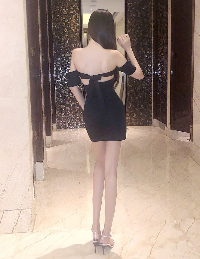 31cf9249735c Affordable bodycon casual lycra cotton black dress short (mini length) open  shoulders and open