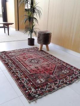 Vintage pers Iran retro Oosters tapijt Perzisch kleed 155 cm