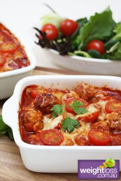 Healthy Dinner Recipes: Gnocchi Meatball Bake with capsicum Sauce. #HealthyRecipes #DietRecipes #WeightlossRecipes weightloss.com.au