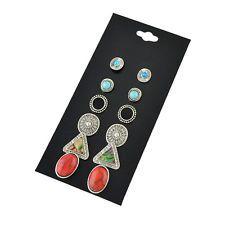 6Pair/Set Rhinestone Vintage Turquoise Earring Natural Stone Oval Earrings New