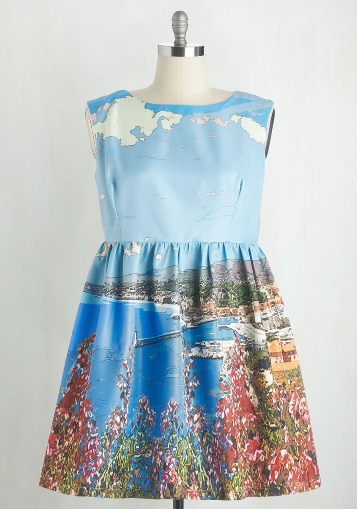 Day in the Shade Dress in Harbor. Leaning against an oak tree in this vintage-inspired sky-blue dress from Dear Creatures -a ModCloth exclusive- you survey the scene around you. #blue #modcloth