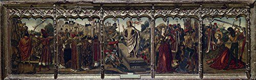 Oil Painting Ximenez Miguel Predela Con La Resurreccion De Cristo 1475 85  Printing On Polyster Canvas  12 X 38 Inch  30 X 97 Cm the Best Home Office Decoration And Home Decor And Gifts Is This Replica Art DecorativePrints On Canvas