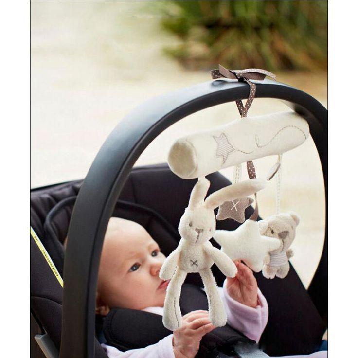 Asiento de seguridad de Mano de peluche de juguete conejo de la música del bebé cama colgante Campana Cochecito Multifuncional Accesorios de Regalo Para Los Niños