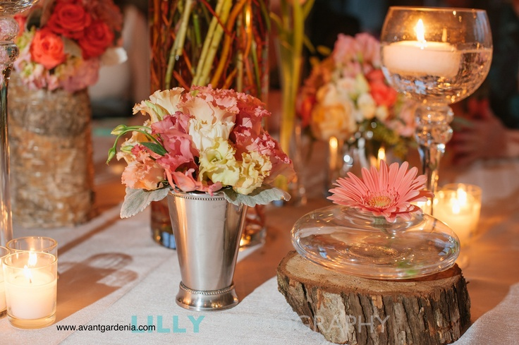 Natural spring centerpiece collection- coral, peach, and blush wedding floral by Avant Gardenia