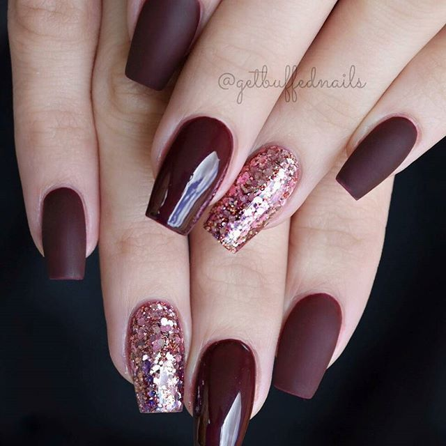 Short Narrow Square Nail Set With Burgundy Gel Polish With Matte Top Coat And Dark Rose Glitter Beautiful Short Coffin Nails Designs Wine Nails Burgundy Nails