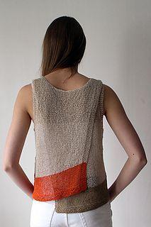 Maja - Gima   knitting pattern by Marita Rolin. An A-line, asymmetric hem, sleeveless top knit with Habu Textiles Cotton Gima.