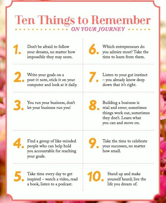 10 things to remember on your #business journey. #motivation