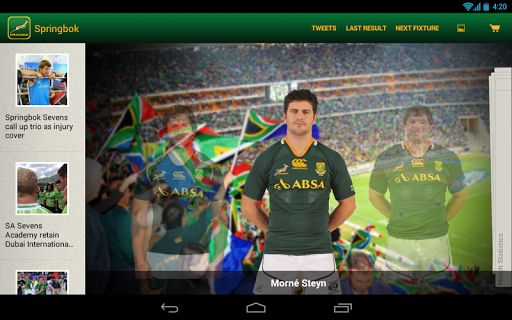 Do you live and breathe green and gold? Then explore the ultimate level of Springbok fandom on your Android tablet with this digital homage to everyone's favourite team. <p>If you're a hardcore Springbok fan or a rugby trivia nut then this easy-to-navigate app is definitely for you.<p>Key features:<br>· Experience a live match visually in captivating colour with live scores and match events <br>· View a detailed match summary and team sheets of every game dating all the way from 1891<br>·…