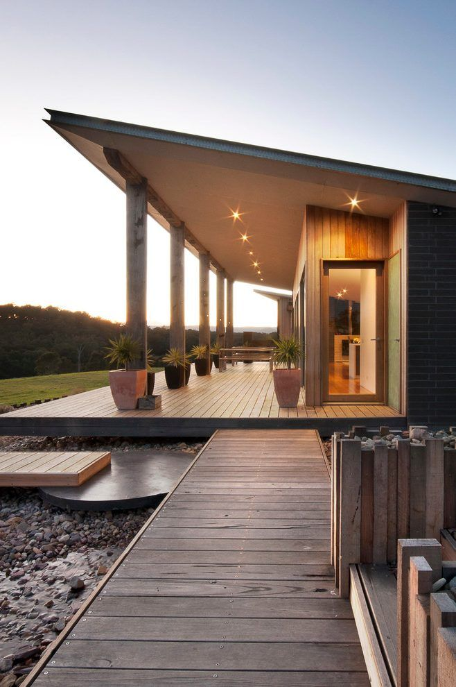Single Pitch Roof Exterior Farmhouse With Shading Wooden