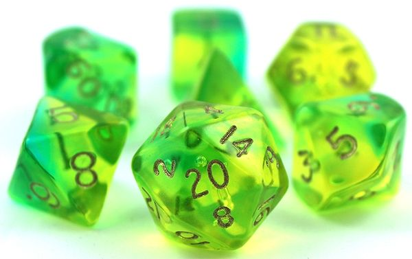 RPG Dice Set (Firefly Green and Aqua) roleplaying game dice + bag
