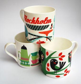 Ingela P Arrhenius mugsSwedish Products, Swedish Design, Coffe Cups, Illustration, Arrhenius Swedish, Ceramics, Coffee Mugs, Omm Design, Ingela