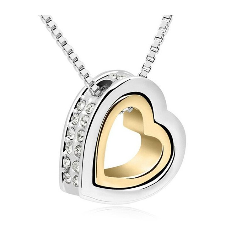 Heart Necklace Women Silver And Gold Plated Jewelry Crystal Necklaces Pendants Christmas Gifts 2016 Fashion Jewellery For Girl