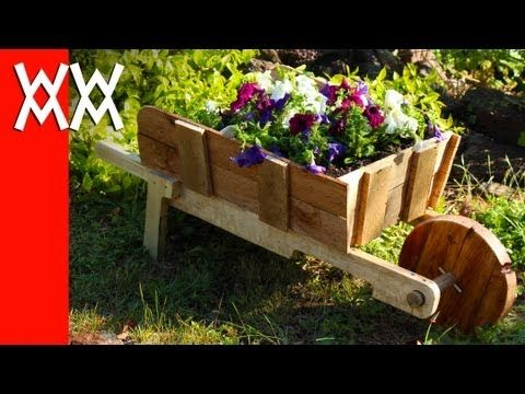 Make a rustic wheelbarrow garden planter. Easy DIY weekend project. - YouTube