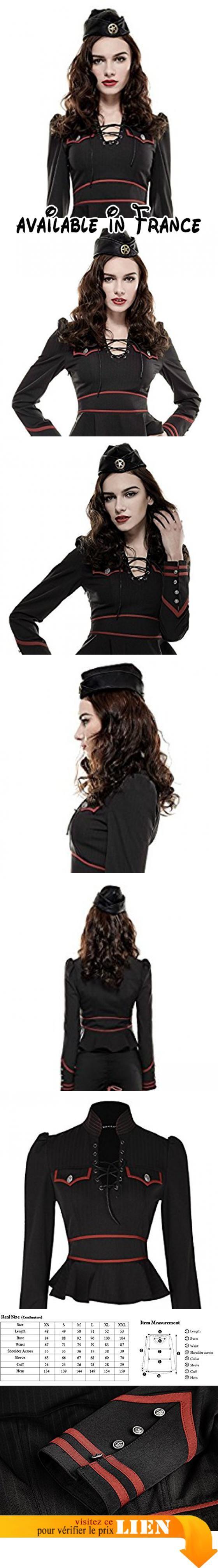 Chemise noire rouge militaire femme fines rayures peplum uniforme laçage punk rave - XL. Tissu noir et bandes rouges contrastantes. Coupe peplum, taille marquée par deux bandes rouges. Longues manches ornées de boutons argentés. Parfait pour vos looks d'inspiration militaire et rétro #Apparel #SHIRT